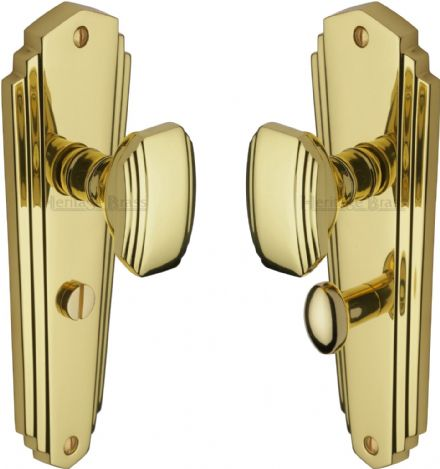 M Marcus Heritage Brass CHA1930PB Charlston Mortice Knob On Bathroom Backplate Polished Brass